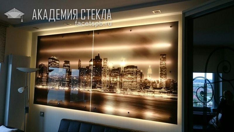 Стеклянная панель для стен с подсветкой