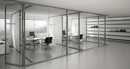 прозрачная стеклянная перегородка для офиса